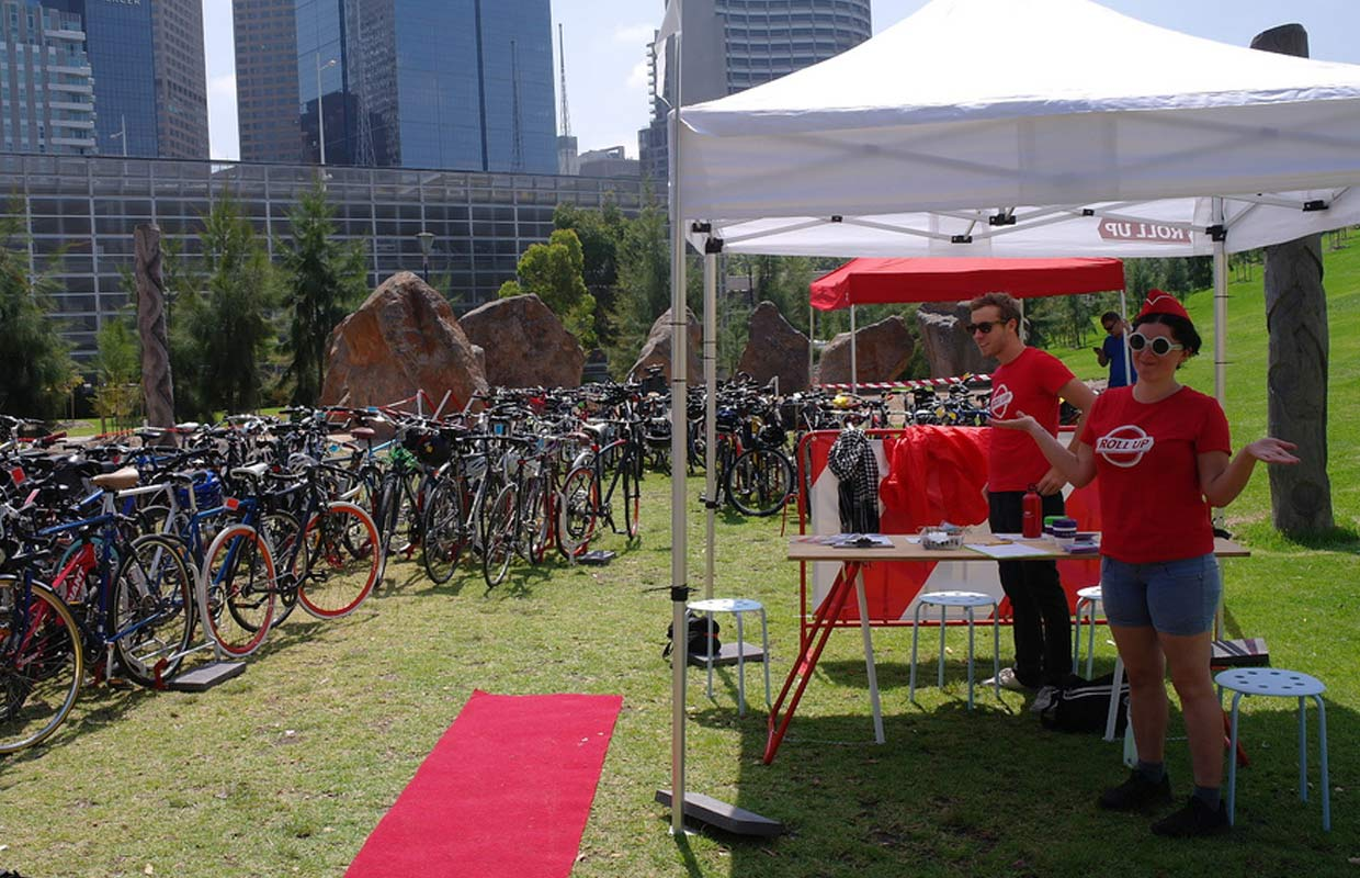 Roll up bike valet parking